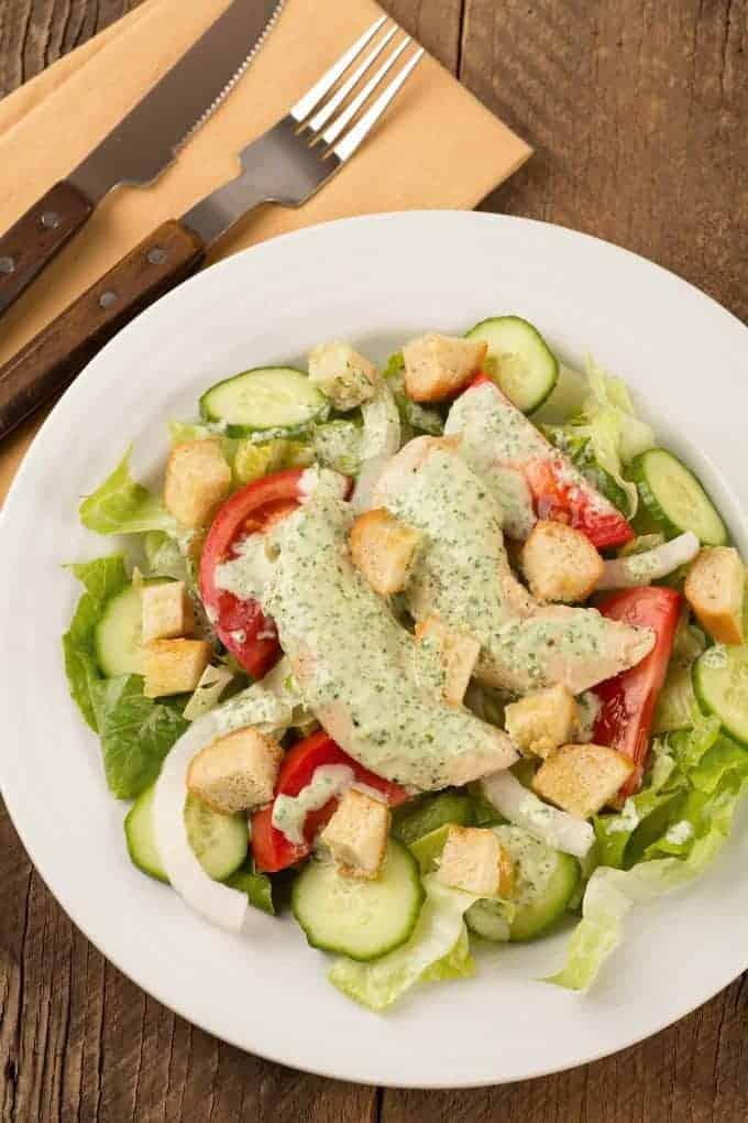 Garden Salad with Chicken and Creamy Herb Dressing