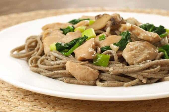 Garlic-Ginger Chicken with Spinach and Soba Noodles