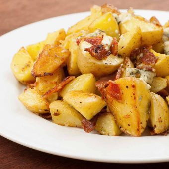 Garlic-Roasted Baby Potatoes with Blue Cheese and Bacon