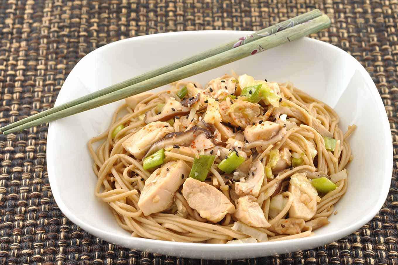 Garlic Soba Noodles with Chicken and Shiitake Mushrooms
