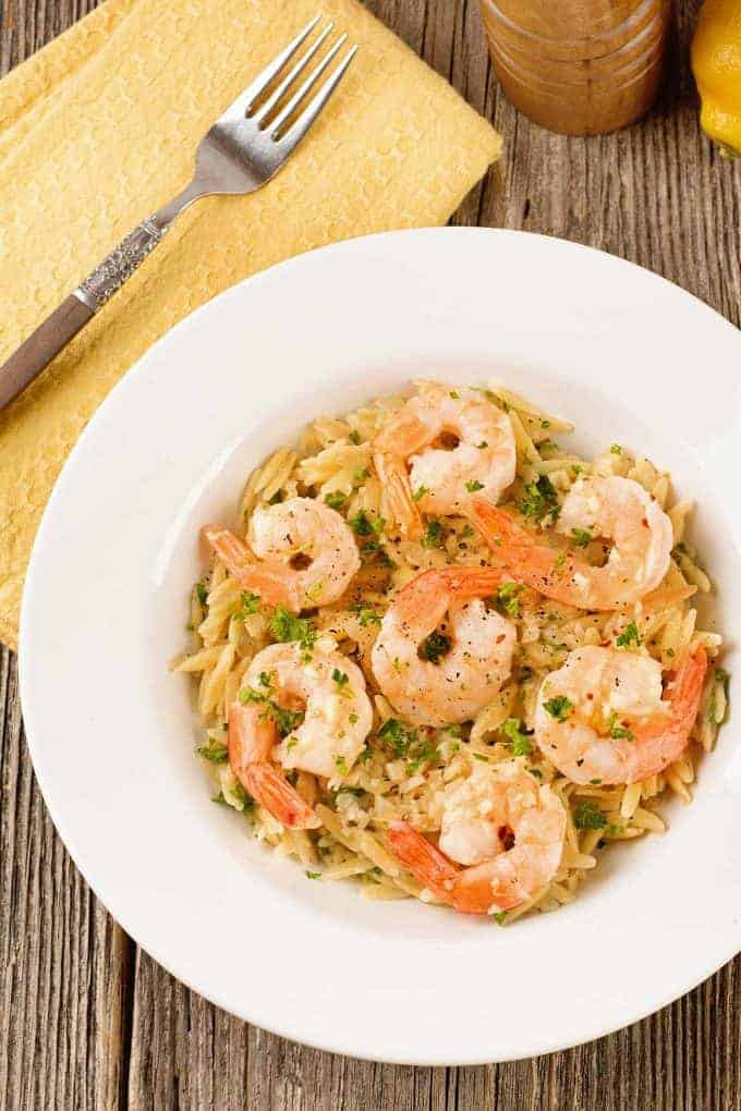 Garlicky Lemon Butter Shrimp with Orzo Risotto