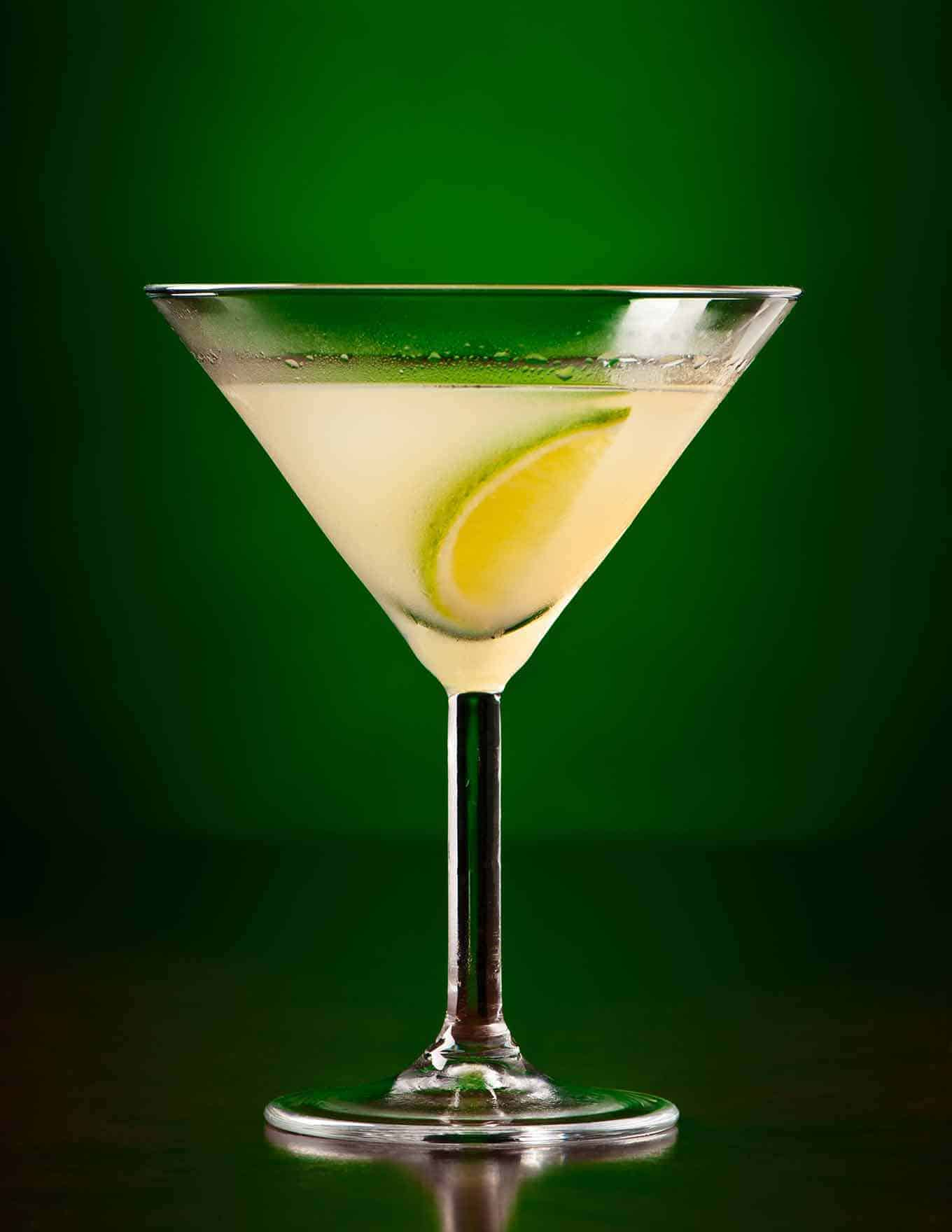 Gimlet Cocktail on black and green background