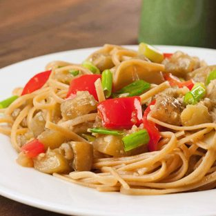 Ginger-Garlic Braised Eggplant with Noodles