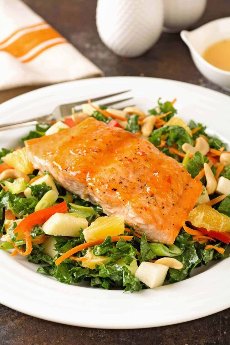 GLAZED SALMON AND KALE SALAD WITH CREAMY CITRUS DRESSING