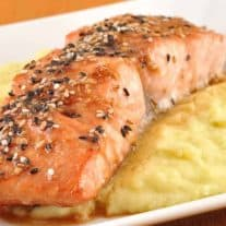 Glazed Sesame Salmon and Wasabi Mashed Potatoes