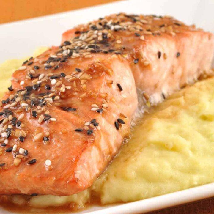 Glazed Sesame Salmon and Wasabi Mashed Potatoes