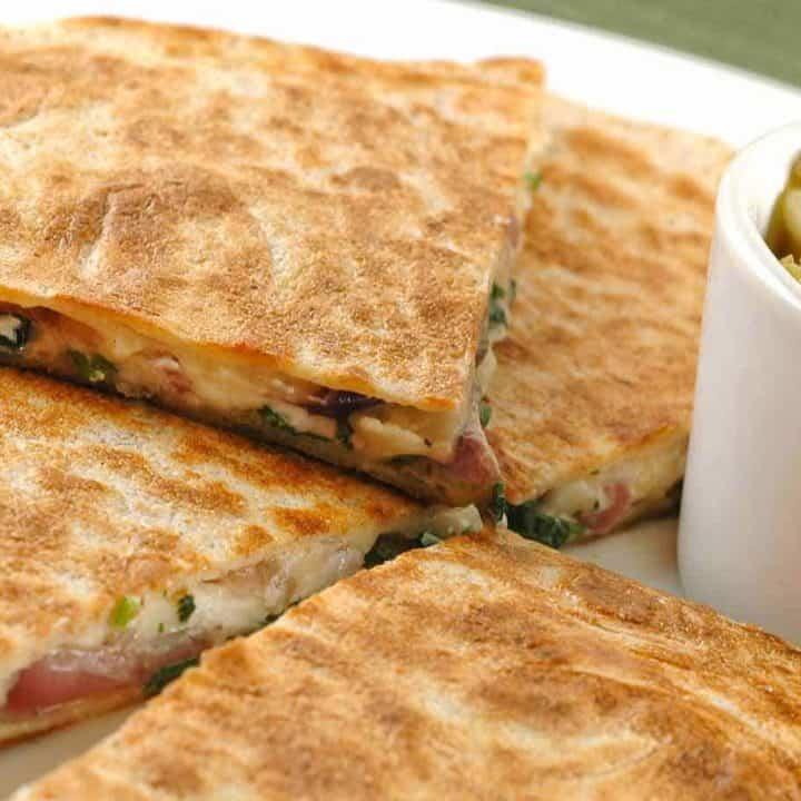 Goat Cheese Quesadillas With Tomatillo-Avocado Salsa
