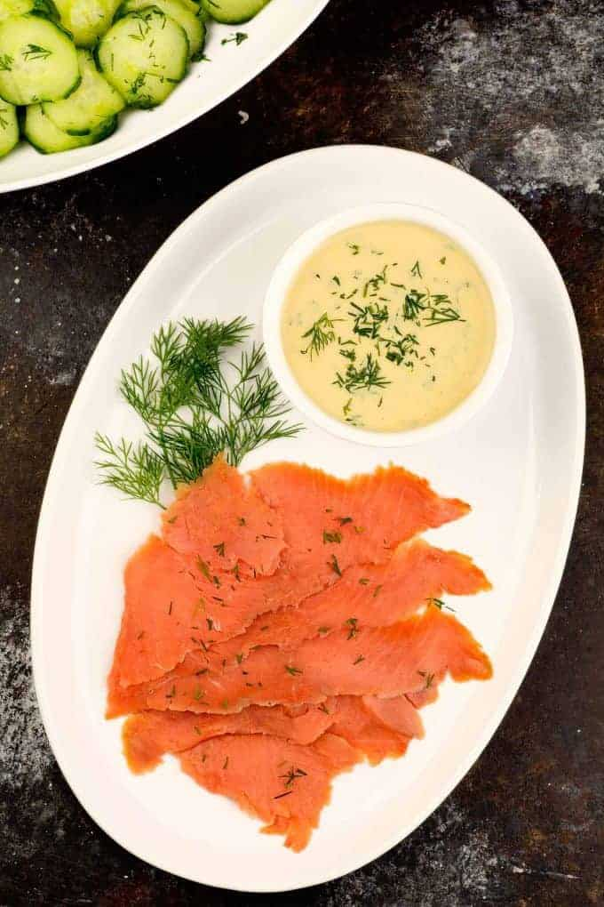 Homemade Gravlax with Mustard Dill Sauce