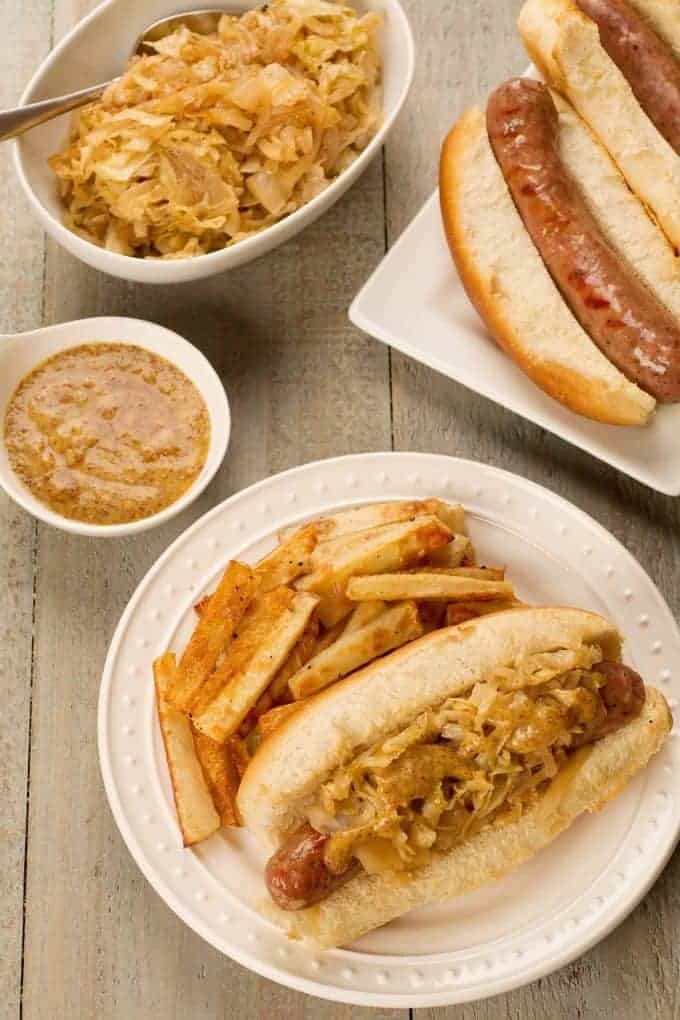 Grilled Bratwurst with Sauteed Sweet Onions and Cabbage