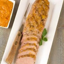Grilled Pork Tenderloin with Bourbon-Peach BBQ Sauce
