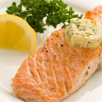 Grilled Salmon With Mustard Butter