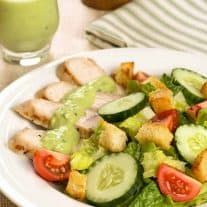 Grilled Turkey Salad with Low Fat Avocado Dressing