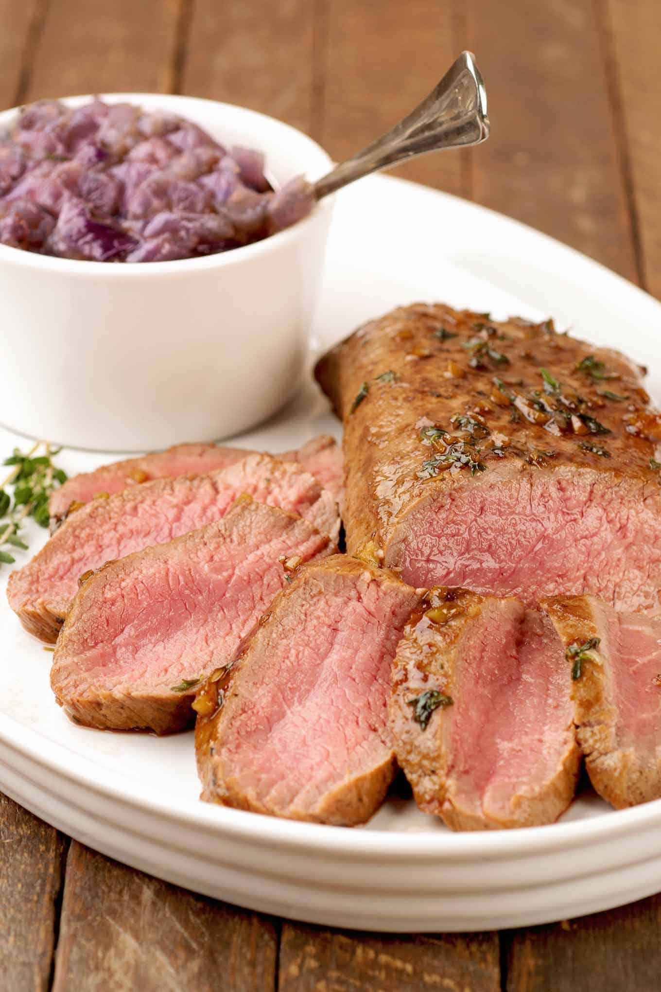 Guinness Glazed Lamb Loin with Red Onion Jam