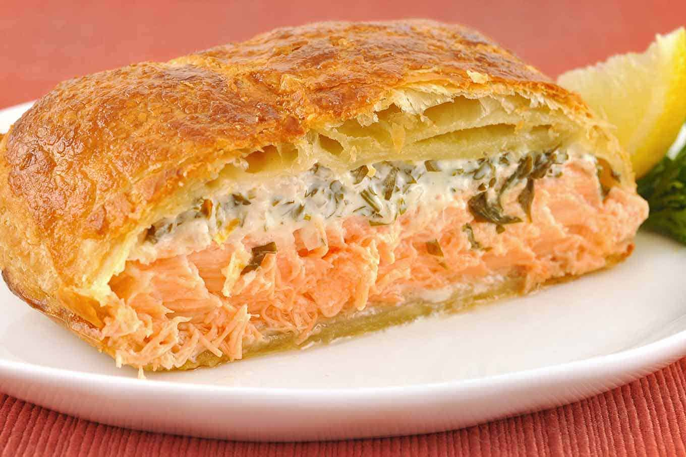 herbed salmon en croute recipe mygourmetconnection. Black Bedroom Furniture Sets. Home Design Ideas