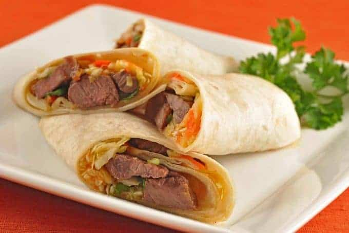 Hoisin-Jalapeno Beef Wraps with Ginger Slaw