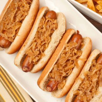 Hot Dogs Simmered in Beer