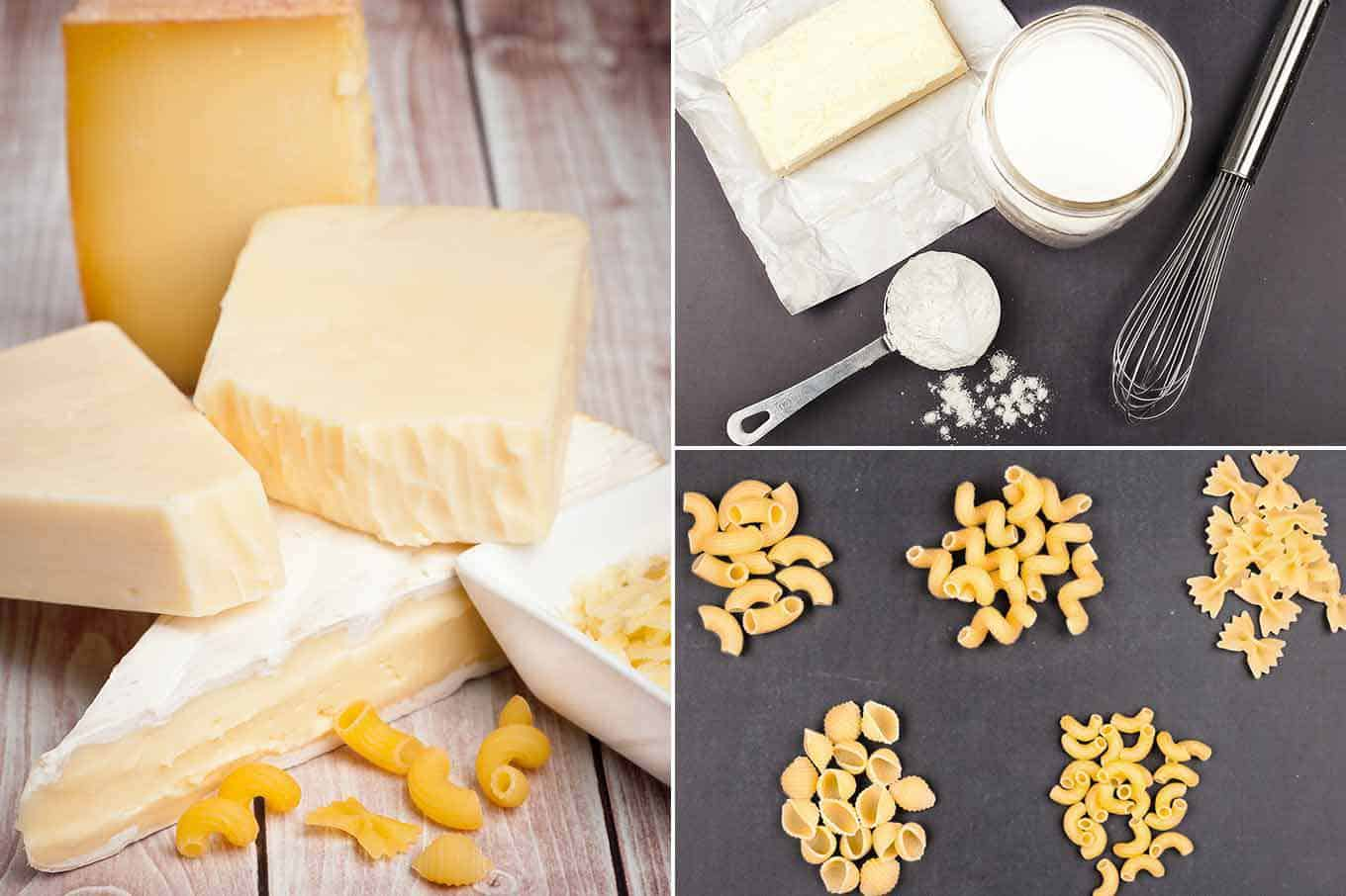Macaroni and cheese ingredients, blocks of different cheeses, flour, butter, and five cuts of pasta
