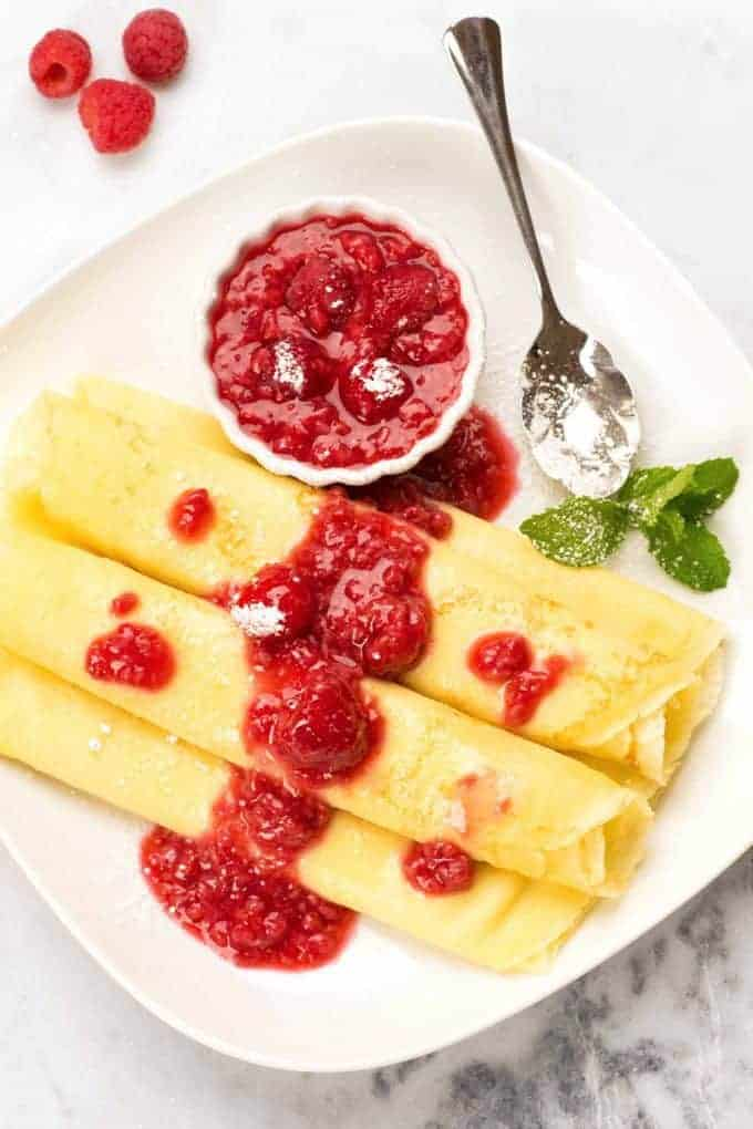 Hungarian Crêpes with raspberry sauce for Mother's Day Brunch.