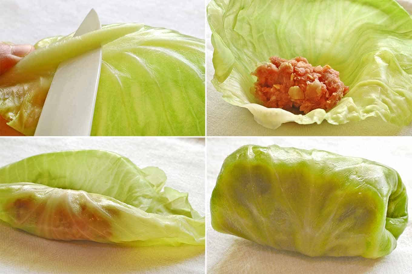 Four steps to making stuffed cabbage rolls, trimming the outer vein, adding the filling, rolling the cabbage, tucking in the ends to seal