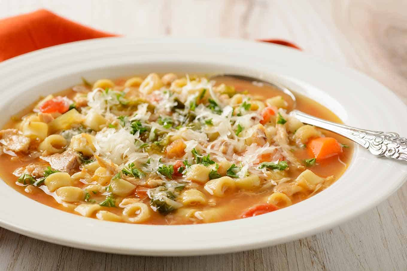 Italian chicken soup in a bowl with spoon