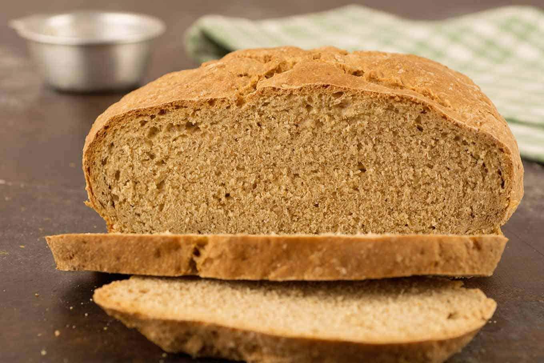 Sliced Irish soda bread on board