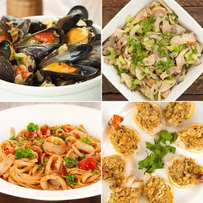 Four Italian seafood dishes, mussels, scungilli, squid, baked stuffed shrimp
