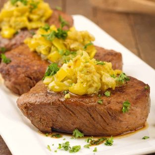 Italian Steak with Garlic Butter and Peppers