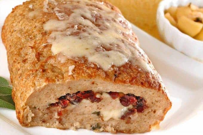 Jarlsberg and Cranberry Stuffed Turkey Meatloaf