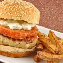 Lemon-Garlic Chicken Burgers with Fried Tomates