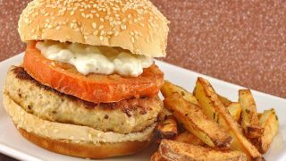 Lemon-Garlic Chicken Burgers w/Fried Tomatoes
