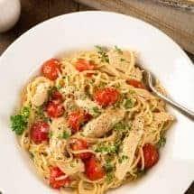 Lemon Garlic Spaghetti with Chicken