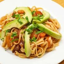 Linguine with Chipotle Onions and Avocado