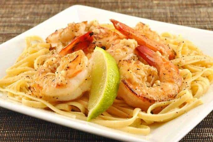 Linguine with Garlic and Black Pepper Shrimp