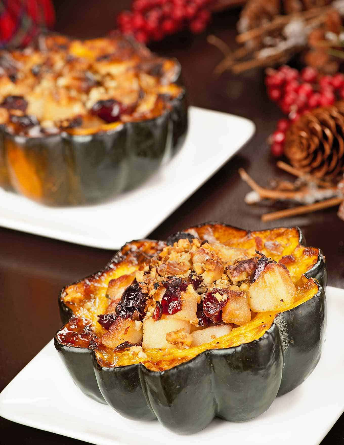 Maple-Roasted Acorn Squash w/Winter Fruit Compote