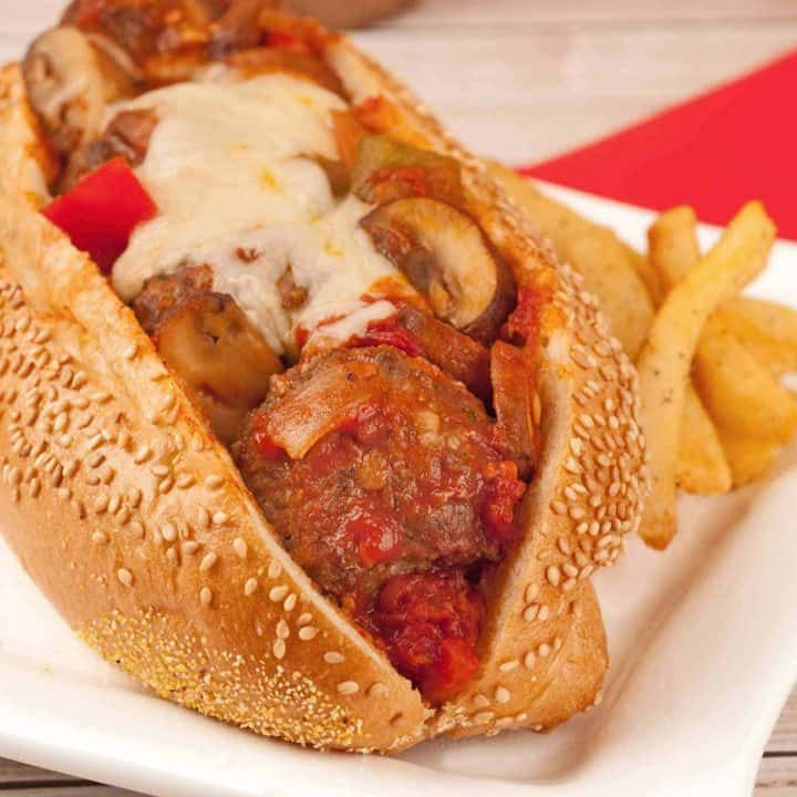 Meatball Sandwiches with Mushrooms and Peppers
