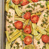 Mediterranean Sheet Pan Fish Dinner