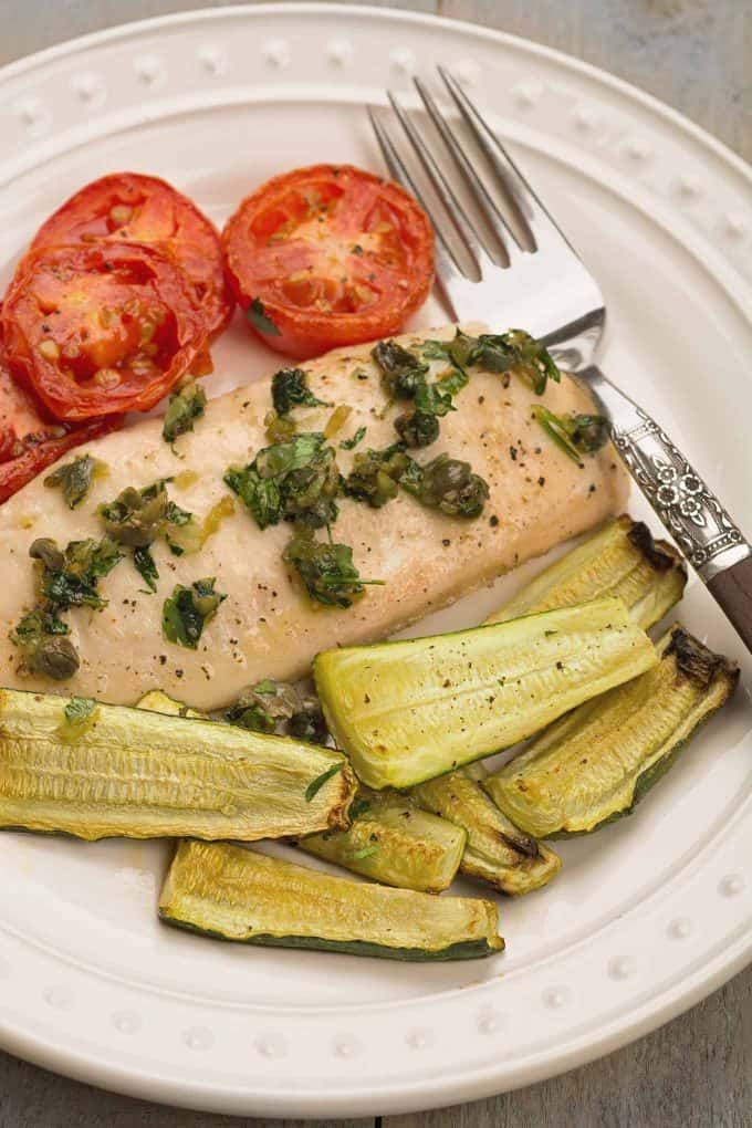 Sheet Pan Fish with Zucchini and Tomatoes