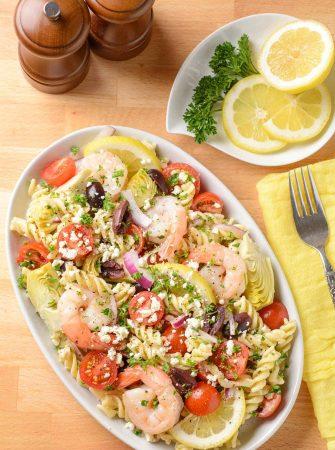 Mediterranean Shrimp and Pasta Salad