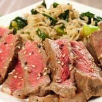 Mirin-Marinated Strip Steaks with Scallion-Kale Ramen