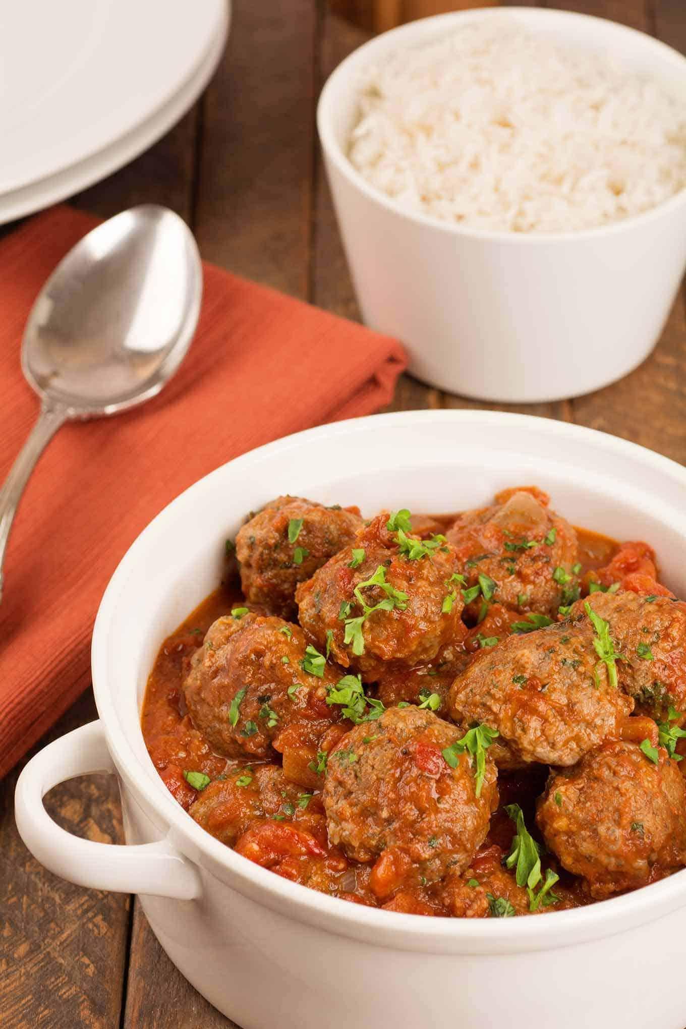 lamb kofta meatballs in tomato sauce