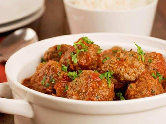 A bowl of Moroccan lamb meatballs in tomato sauce