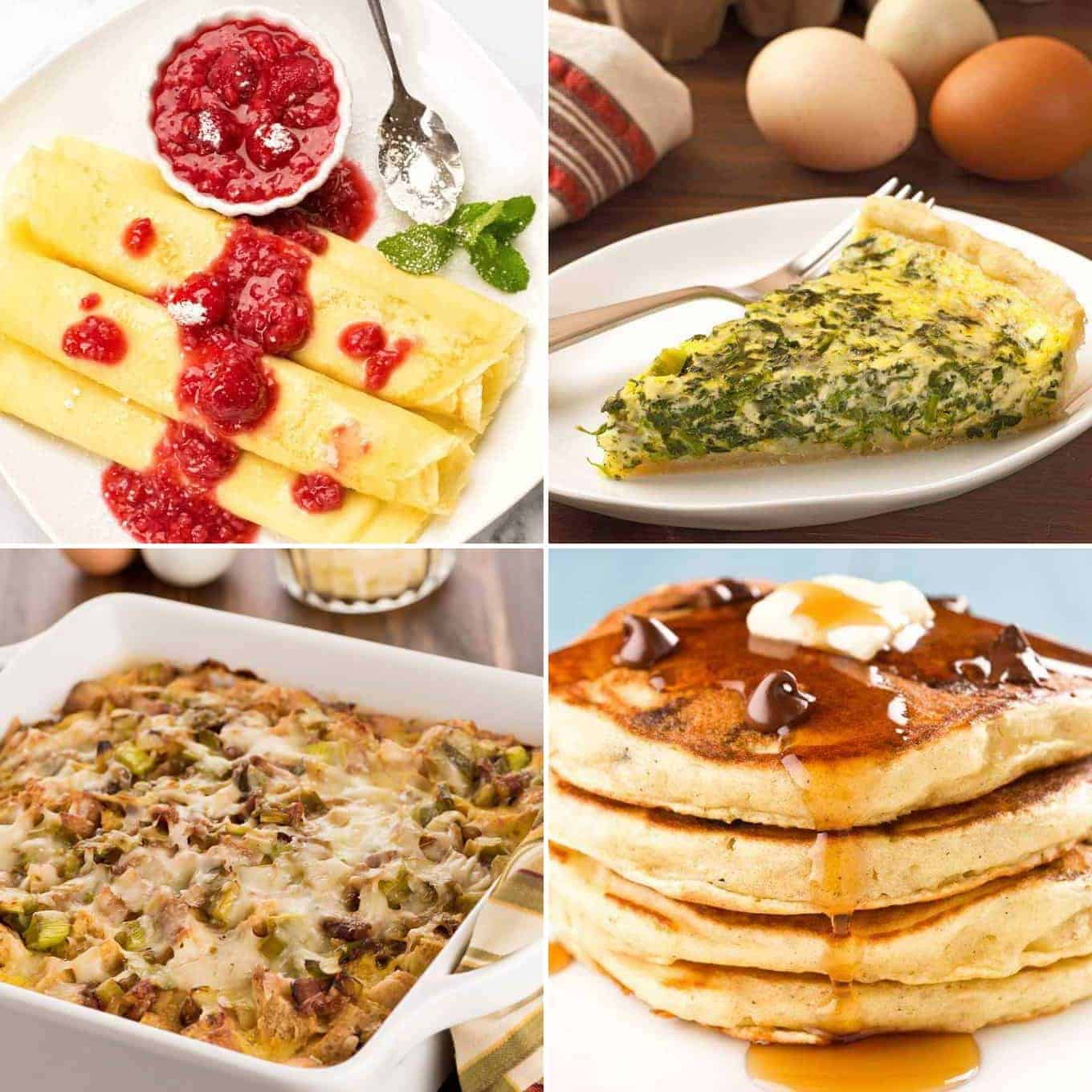 Collage photo including Hungarian crepes with raspberry sauce, spinach quiche, bacon and leek strata, and chocolate chip pancakes