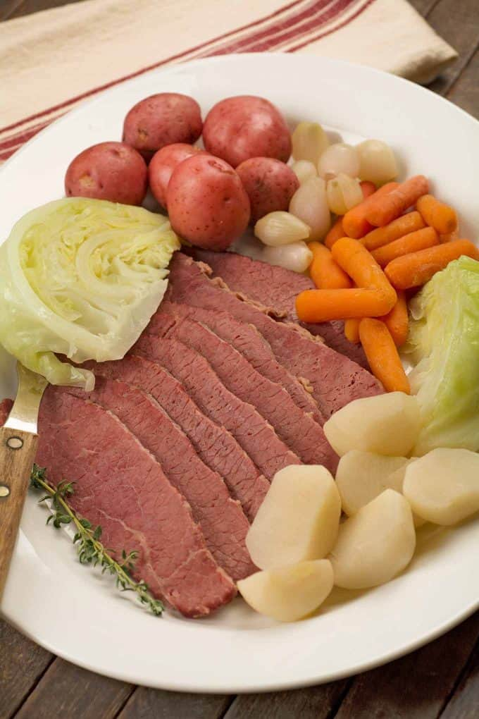 New England Boiled Dinner arranged on a large serving platter
