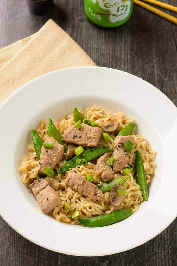 One Pan Stir-Fried Pork with Ramen