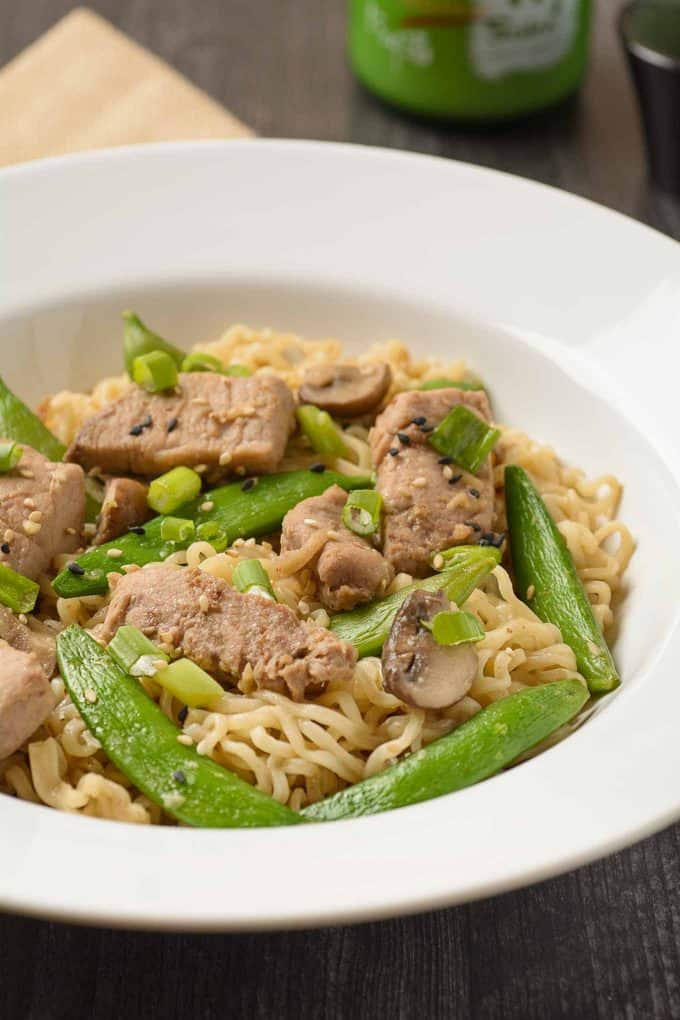 Stir Fried Pork with Snap Peas and Ramen