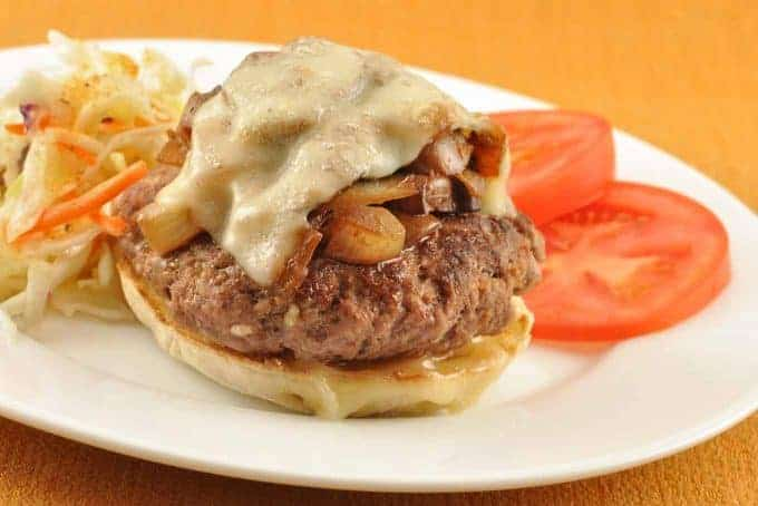 Open-Faced Mushroom-Swiss Burger