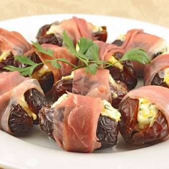 Orange-Basil Stuffed Dates with Prosciutto