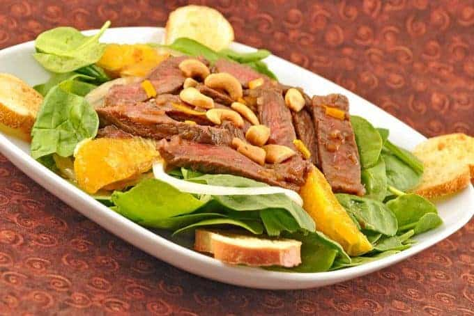 Orange Glazed Beef and Spinach Salad
