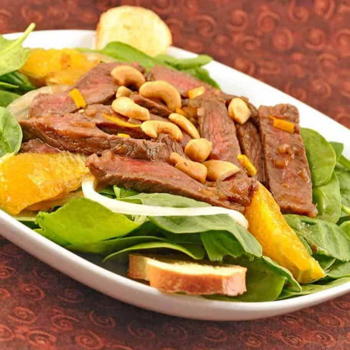 Orange Glazed Beef and Spinach Salad