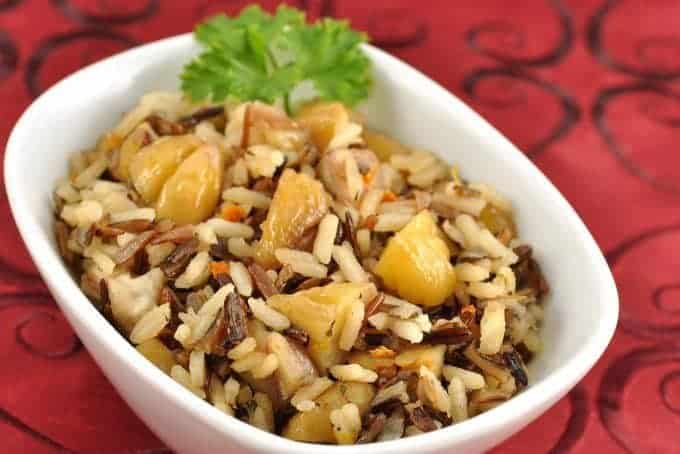 Orange Scented Wild Rice and Chestnuts